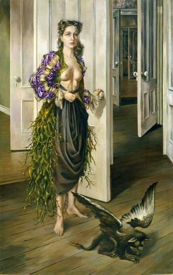 Dorthea Tanning, born 1942. How did she manage to paint a picture of ME getting ready for work?!!
