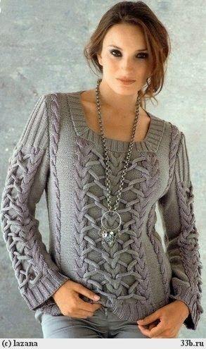 Sweater de mujer con dos agujas  f07cc44d3d6c