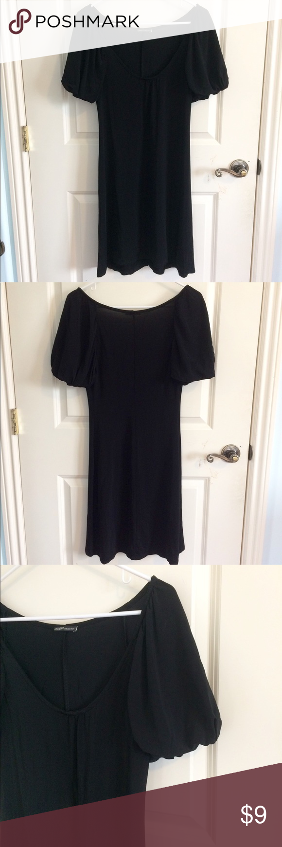 Puffy Short Sleeves Little Black Dress in My Posh Closet