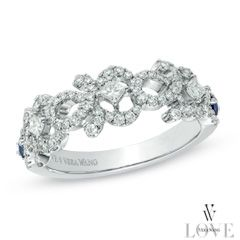 Vera Wang Love Collection 1 2 Ct T W Diamond And Blue