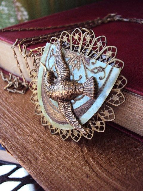 Antique Collage Necklace with Hummingbird by primitivepincushion, $32.99