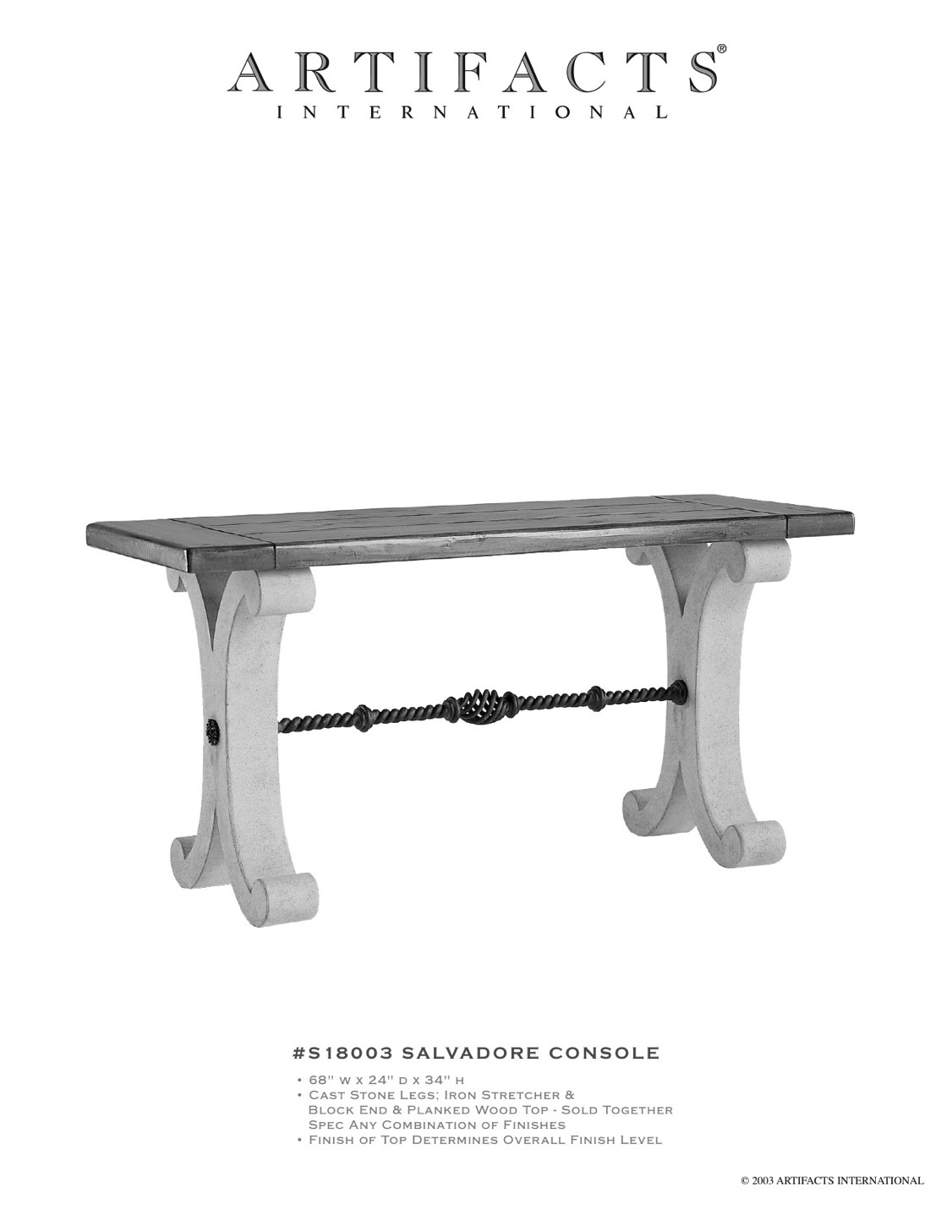 Artifacts International // Cast Stone & Fiberstone Console Tables. I ...