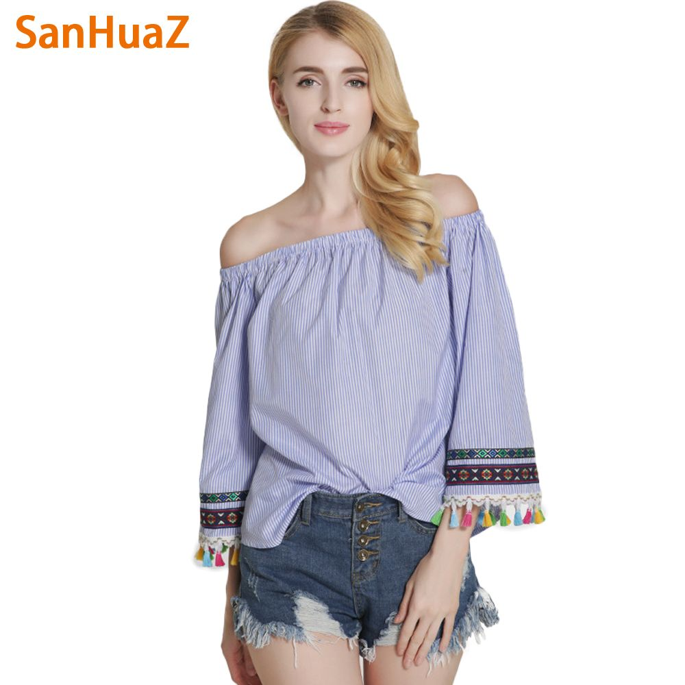 Click to Buy << SanHuaZ 2017 Spring Summer Women's Shirt Blouses ...