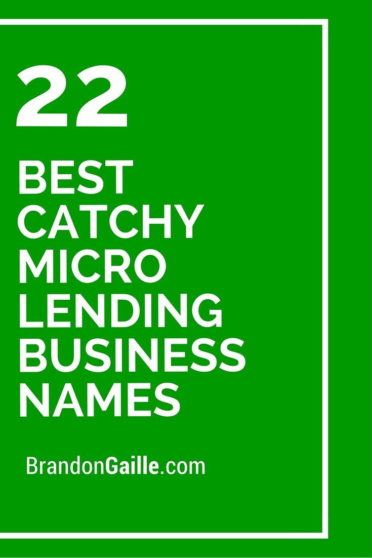 23 best catchy micro lending business names
