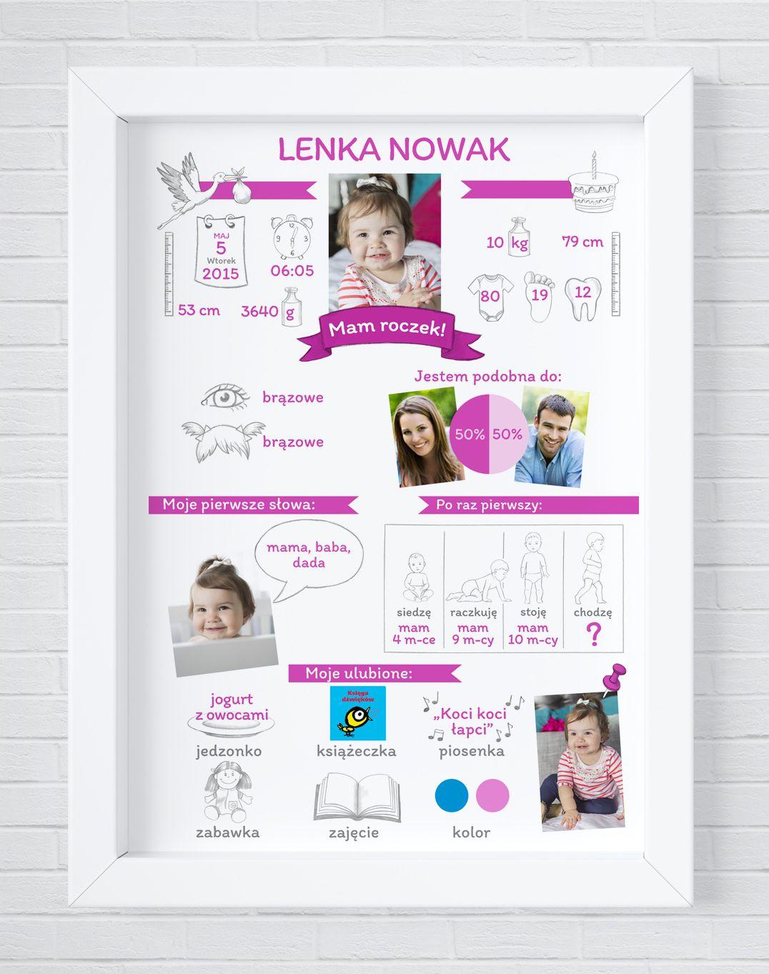 Infografika O Dziecku Plakat Dla Dziecka Prezent Na Roczek Infografiki Dzieci Plakat