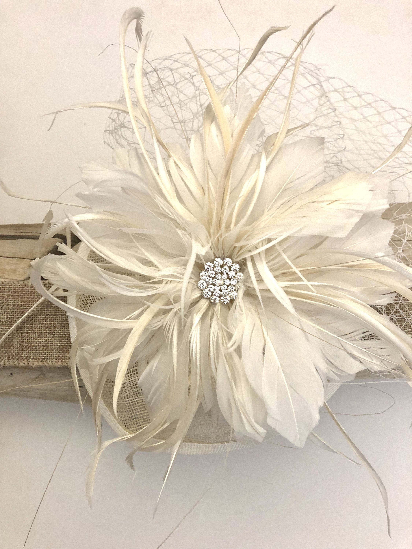 ivory fascinator hat, ivory flower feather fascinator