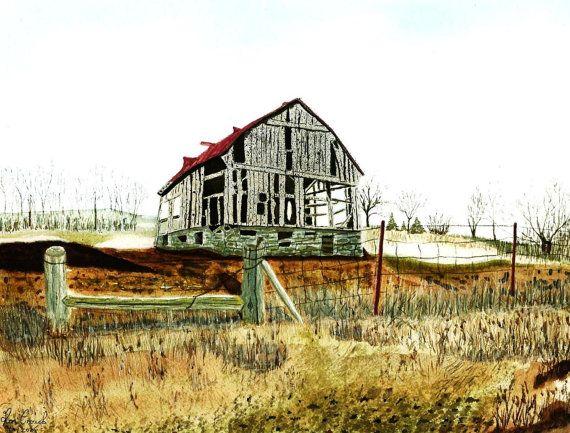Watercolour Print of Old Barn, Ontario Canada Barn Wood ...
