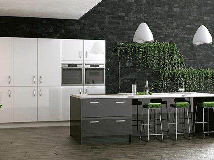 Ilot Cuisine Gris Anthracite, Mur En Briques Couleur Anthracite, Meuble  Cuisine Blanc, Cuisine