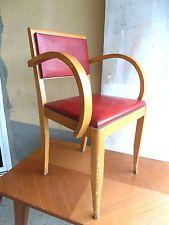 Ancienne Chaise Petit Fauteuil En Bois Et Simili Cuir Des Années - Petit fauteuil en bois