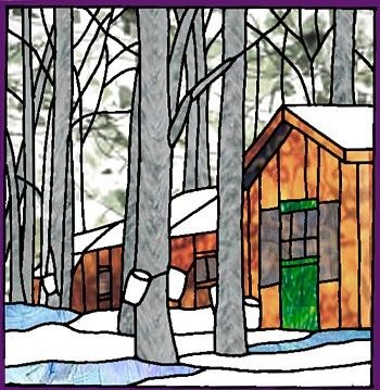 Sugar Shack Erabliere Glass Building Stained Glass Quilt Glass Art Projects