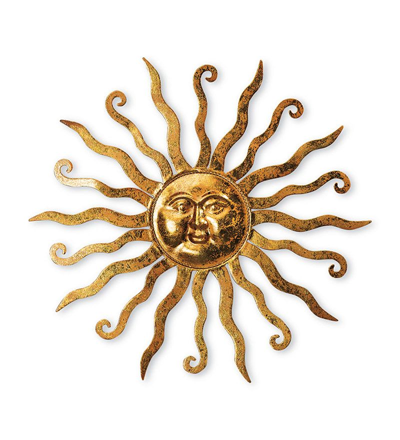 Shimmering Gold Metal Sun Wall Hanging With Etched Swirl Detail ...