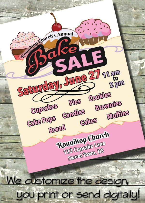 Bake Sale ~ Charity Fundraiser ~ 5X7 Invite ~ 8.5X11 Flyer ~ 11X14
