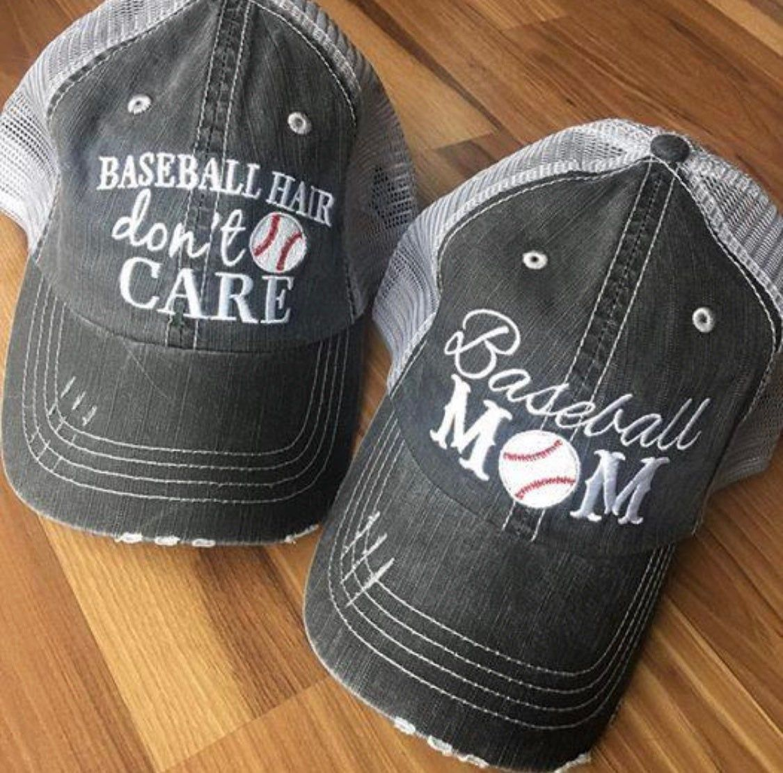 Photo of Baseball hats! Baseball hair don't care • Embroidered gray distressed unisex adjustable trucker caps • Baseball mom • Gameday • Chicago