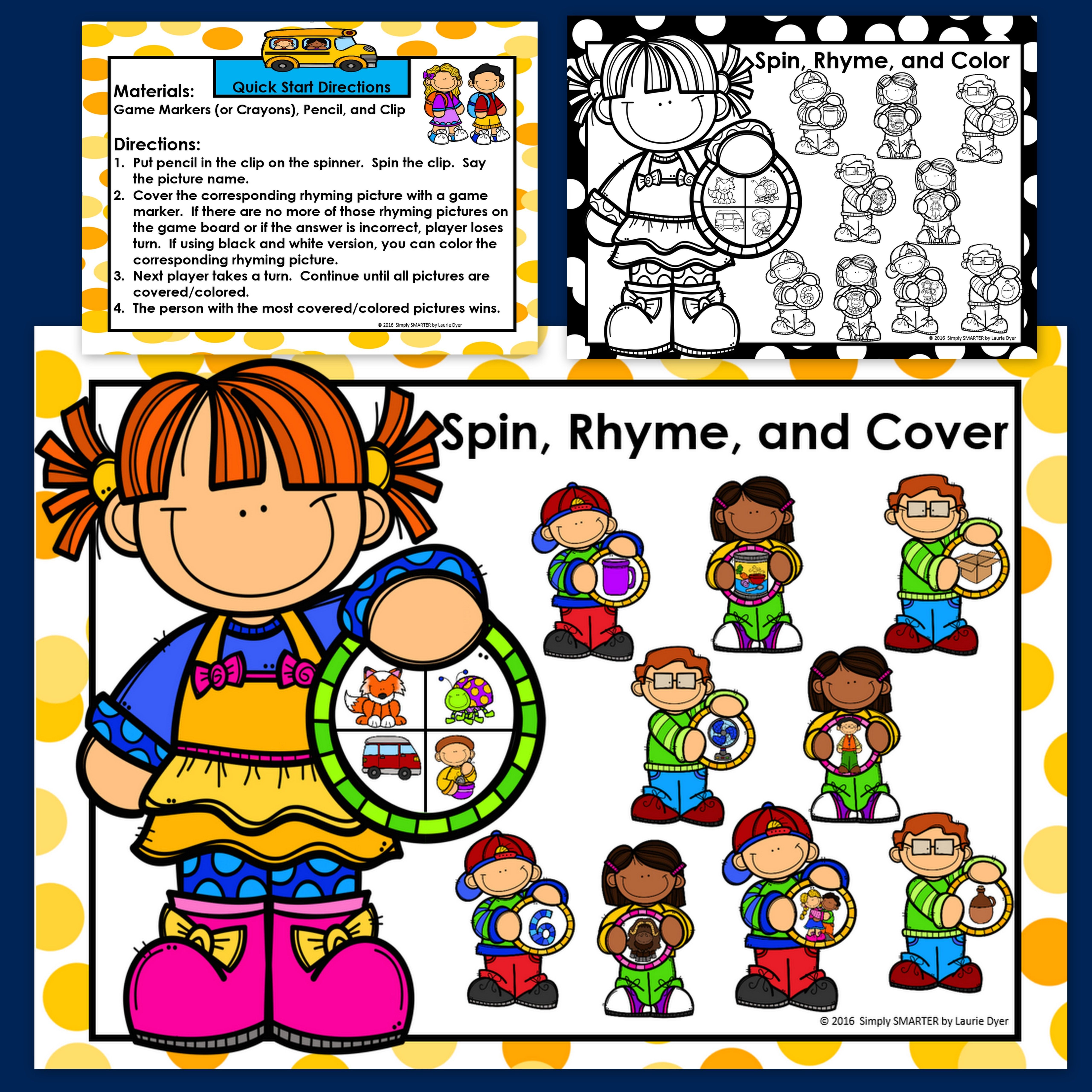 No Prep Back To School Themed Spin Rhyme And Cover Game