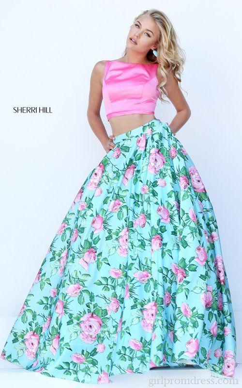 Floral Print Sherri Hill Two Piece 2016 Prom Dress 50447