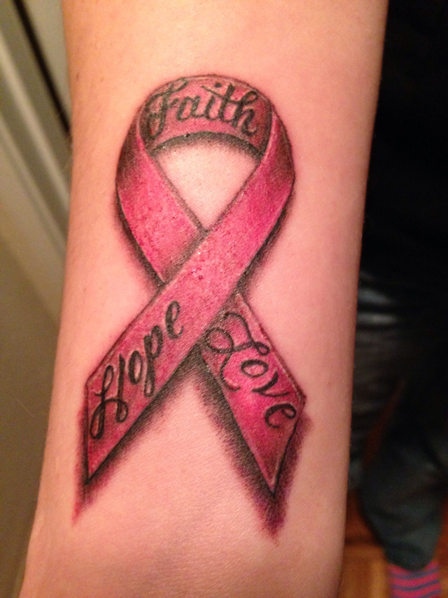 Breast Cancer Awareness Ribbon Tattoo Hope Faith Love Tattoos