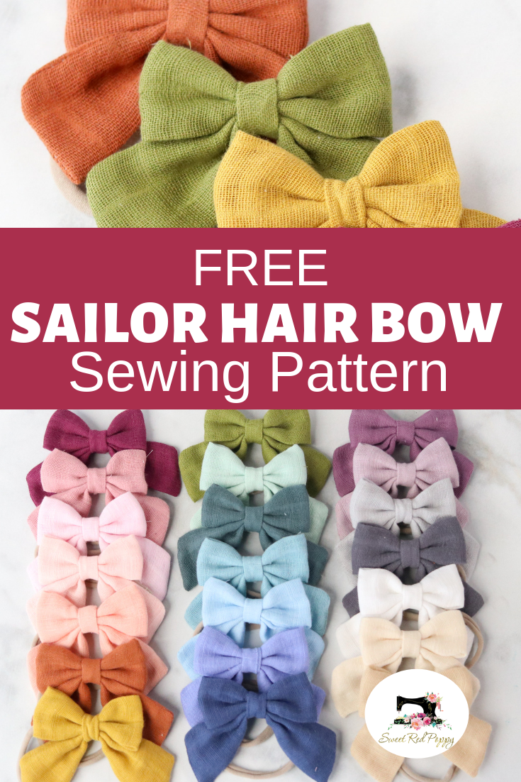 FREE Girl's Hair Bow Pattern and Sewing Tutorial #beginnersewingprojects