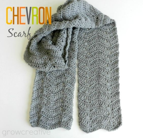 Grey Crochet Chevron Scarf Mile A Minute Afghan Patterns