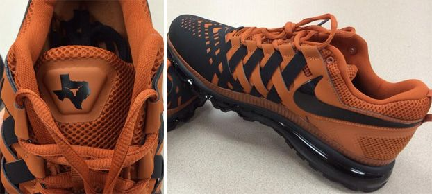 The Nike Trainer Max TEXAS PE couples together burnt orange and black on  the woven leather upper. The Longhorns logo appears inside a silhouette of  T.