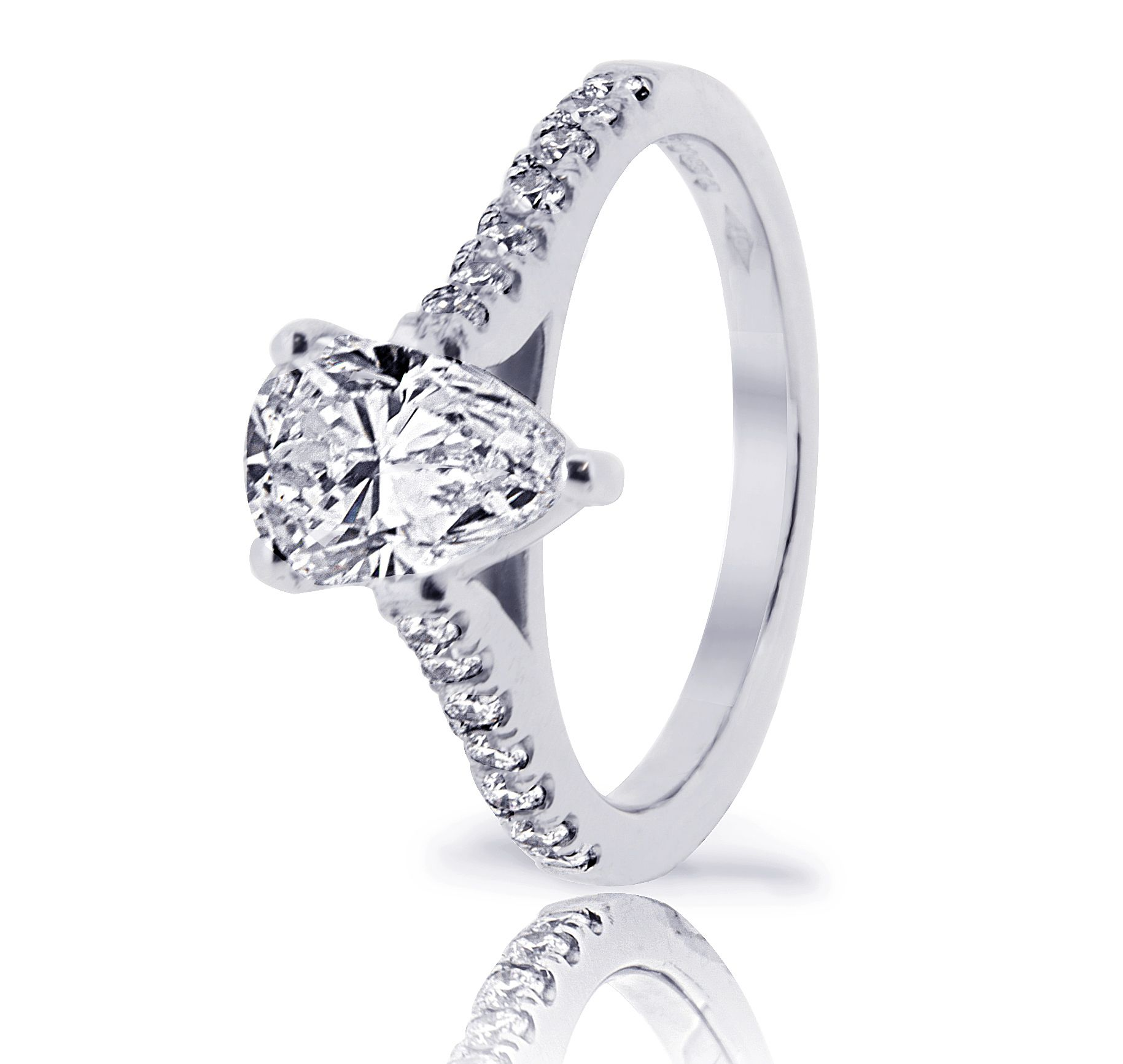 Pear shape center and cutdown setting shoulder engagement ring