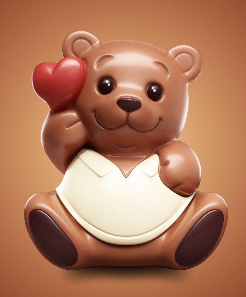 3d Chocolate Bear On Behance Chocolate Design Kawaii Doodles