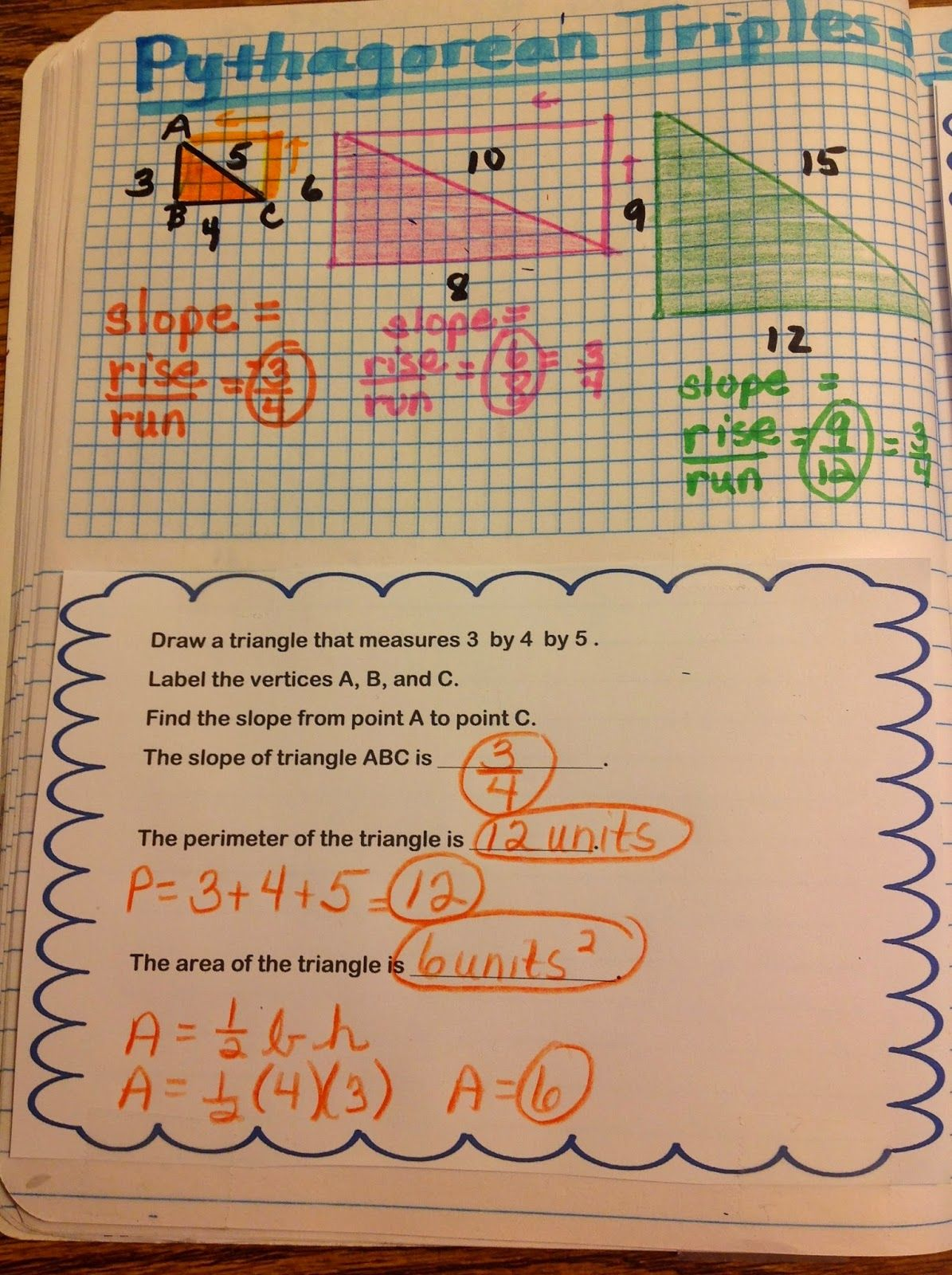 Pythagorean Triple Interactive Notebook Pages