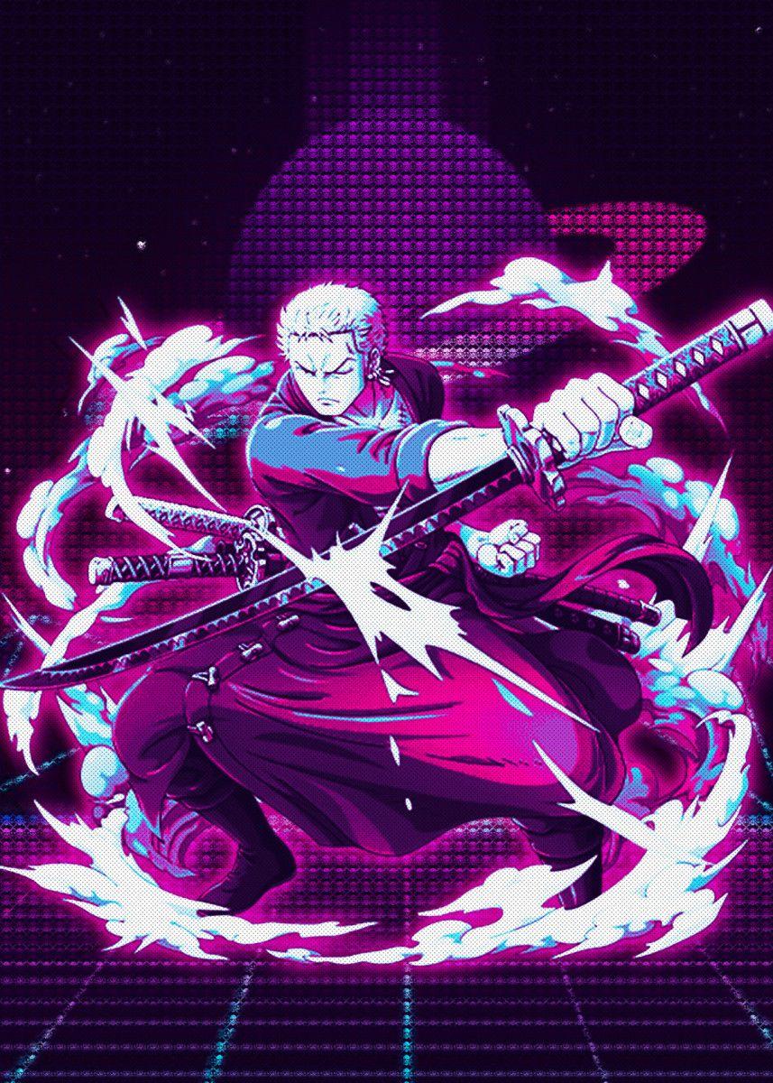 Roronoa Zoro Poster Print By Introv Art Displate In 2020 Manga Anime One Piece Roronoa Zoro Cool Artwork