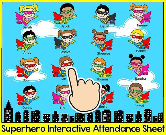 Superhero Attendance for Smartboards, Promethean or Mimo - attendance sheet for students