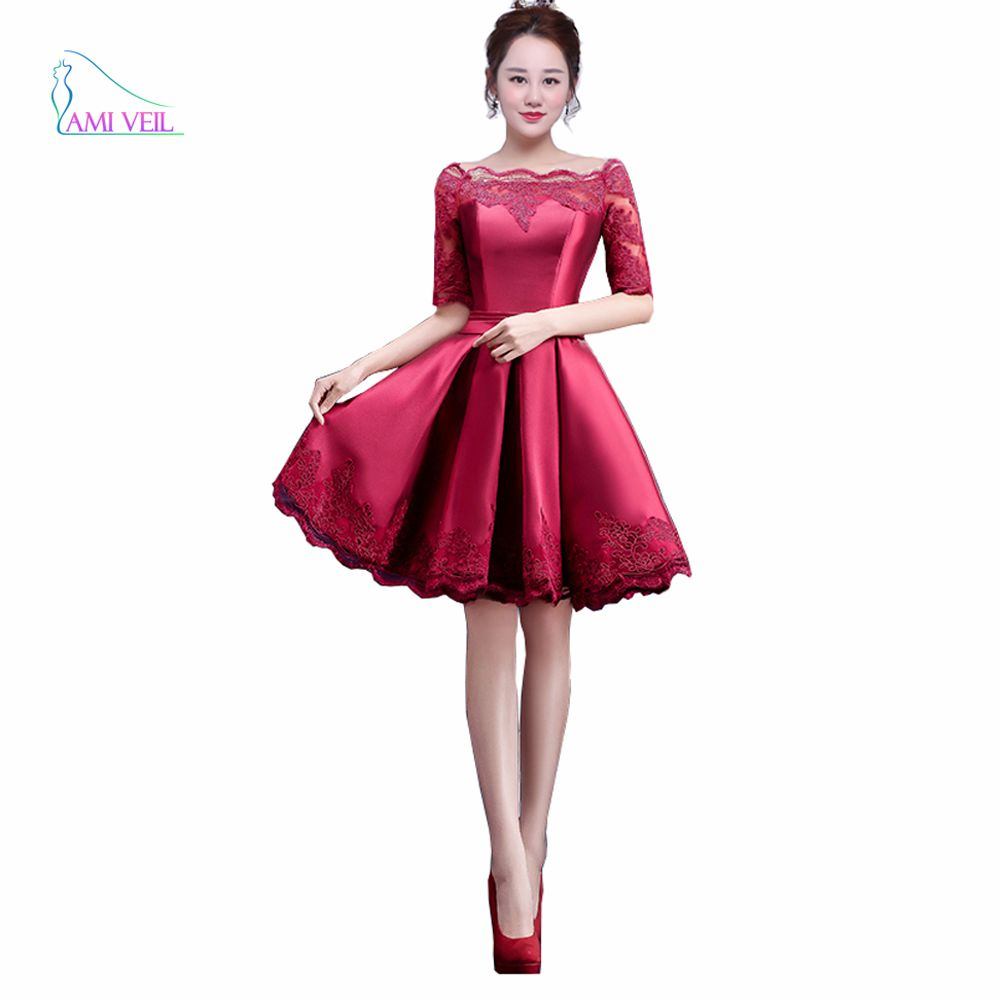 2017 Lace Multi Half Sleeve Appliques Burgundy Red Pink Cocktail ...