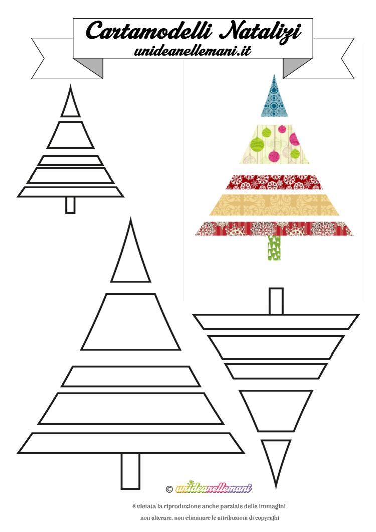 Cartamodelli Natalizi Cartamodello Albero Di Natale A Strisce 9