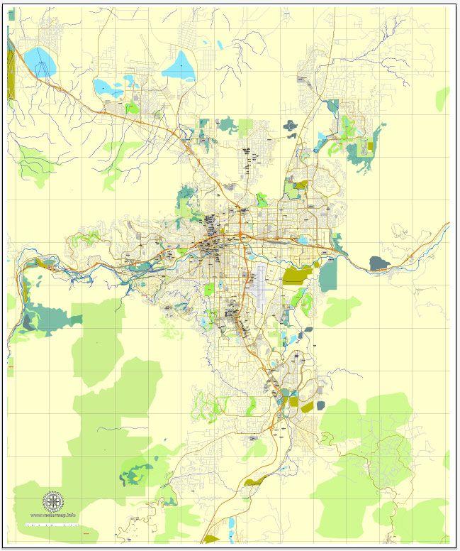 Reno, Nevada, US, exact vector street City Plan map V3.09, full ...