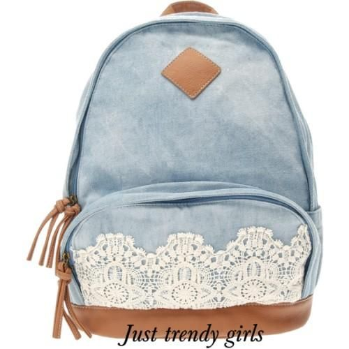 denim backpack with lace, Trendy backpacks for girls http://www ...