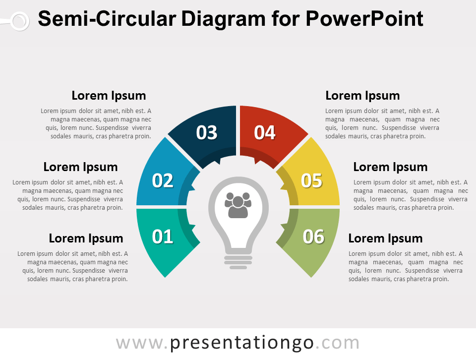 Semi circular diagram for powerpoint presentationgo free semi circular diagram for powerpoint colored graphic design with 6 steps and a light bulb in the center editable graphics with text placeholder ccuart Images