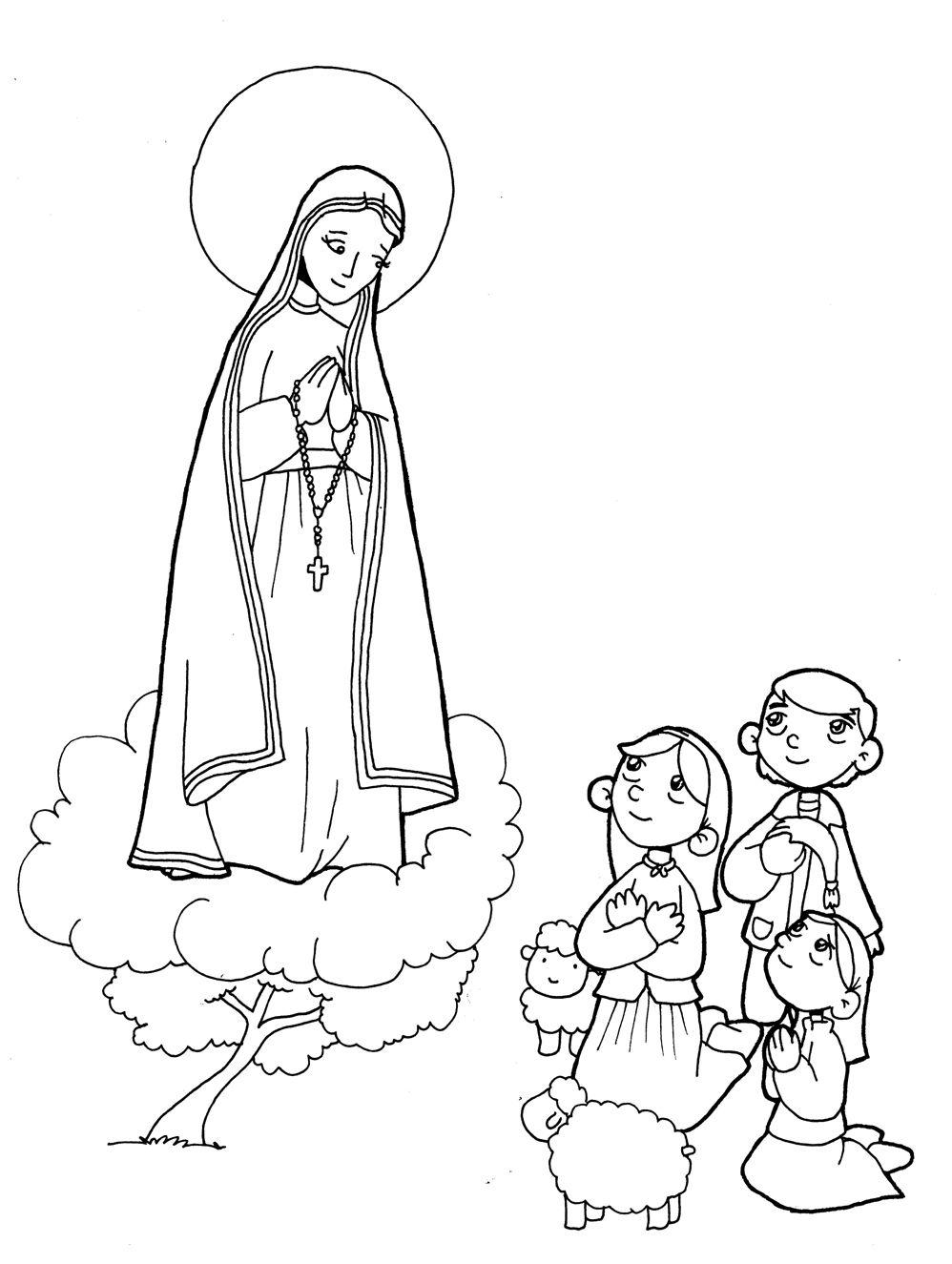 Nuestra Senora De Fatima Con Los Pastorcitos Para Pintar Con