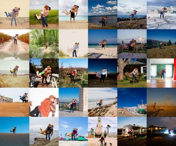 Una pareja se fotografia en cada lugar que conocieron juntos y crearon una nueva tendencia