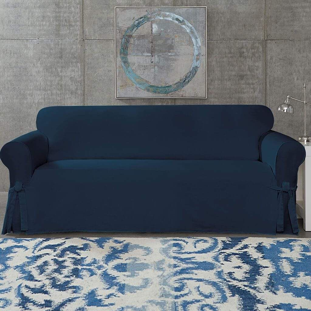 Cotton Duck Sofa Slipcover Relaxed Fit 100 Cotton Machine Washable In 2021 Slipcovered Sofa Slipcovers Blue Couch Covers