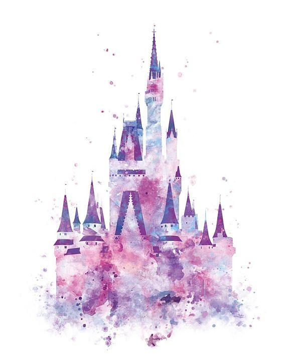 72d04f66c Disney Castle Drawing, Disney Castle Tattoo, Cinderela Disney, Watercolor  Disney, Watercolor Print