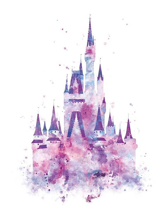Cinderella Castle Art Watercolor Print Princess Castle Disney