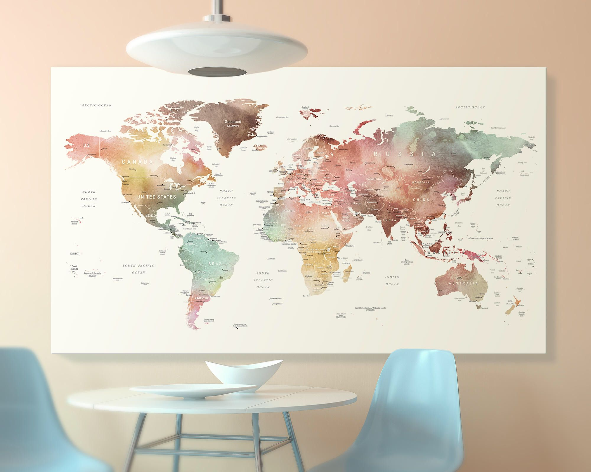 Brown watercolor world map canvas world map wall art detailed print brown watercolor world map canvas world map wall art detailed print push pin world gumiabroncs Image collections