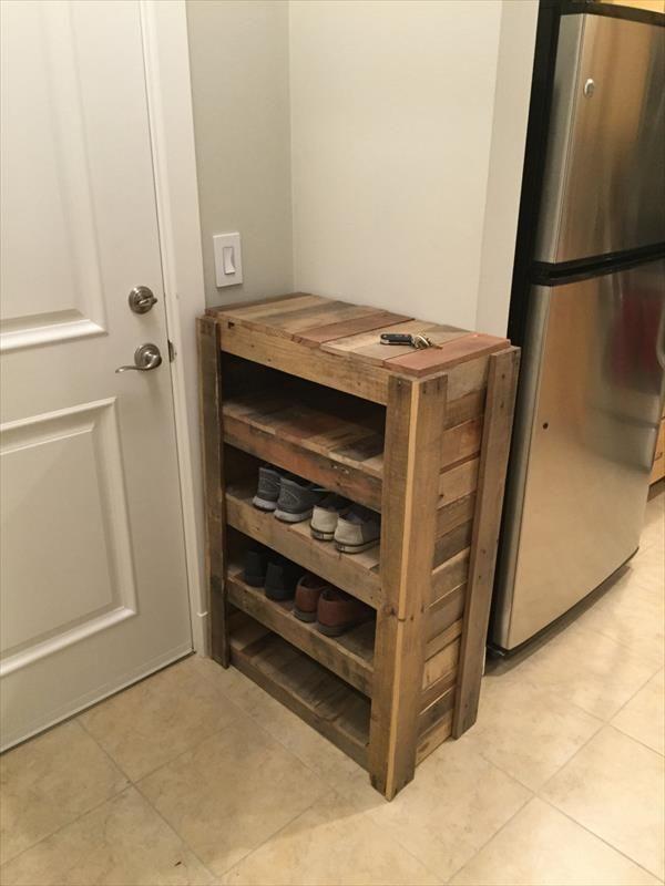 diy entryway shoe rack 100 reclaimed pallets wood on shoe rack wooden with door id=33829
