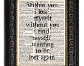 Love Quote, Within You I Find Myself, Art Print, Inspirational Art, Anniversary Gift, Birthday Gift, Love Art Print, Dictionary Art
