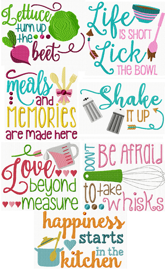 Exclusive Kitchen Sayings Embroidery Designs Pinterest