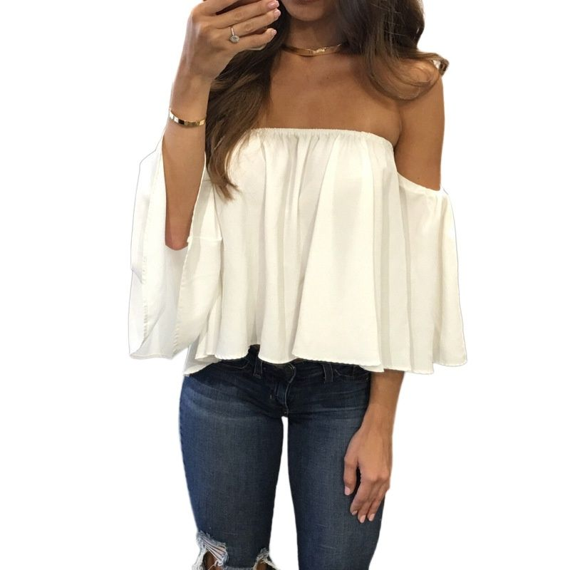 04ab2ad135c651 Women Spring Solid Slash Neck Blouse Casual Short Style Butterfly Sleeve  Girls Chiffon Tops Simple Modern Vocation Wears  Affiliate. Women s Summer  Off ...