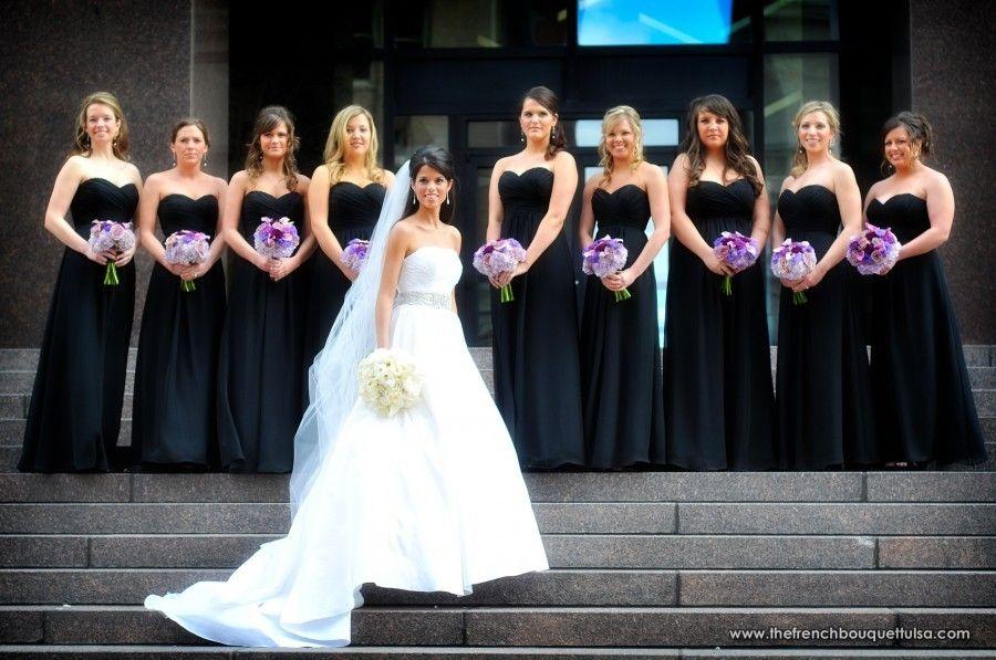 Colour Light Purple Bridesmaid Bouquets With Black Dresses Grey