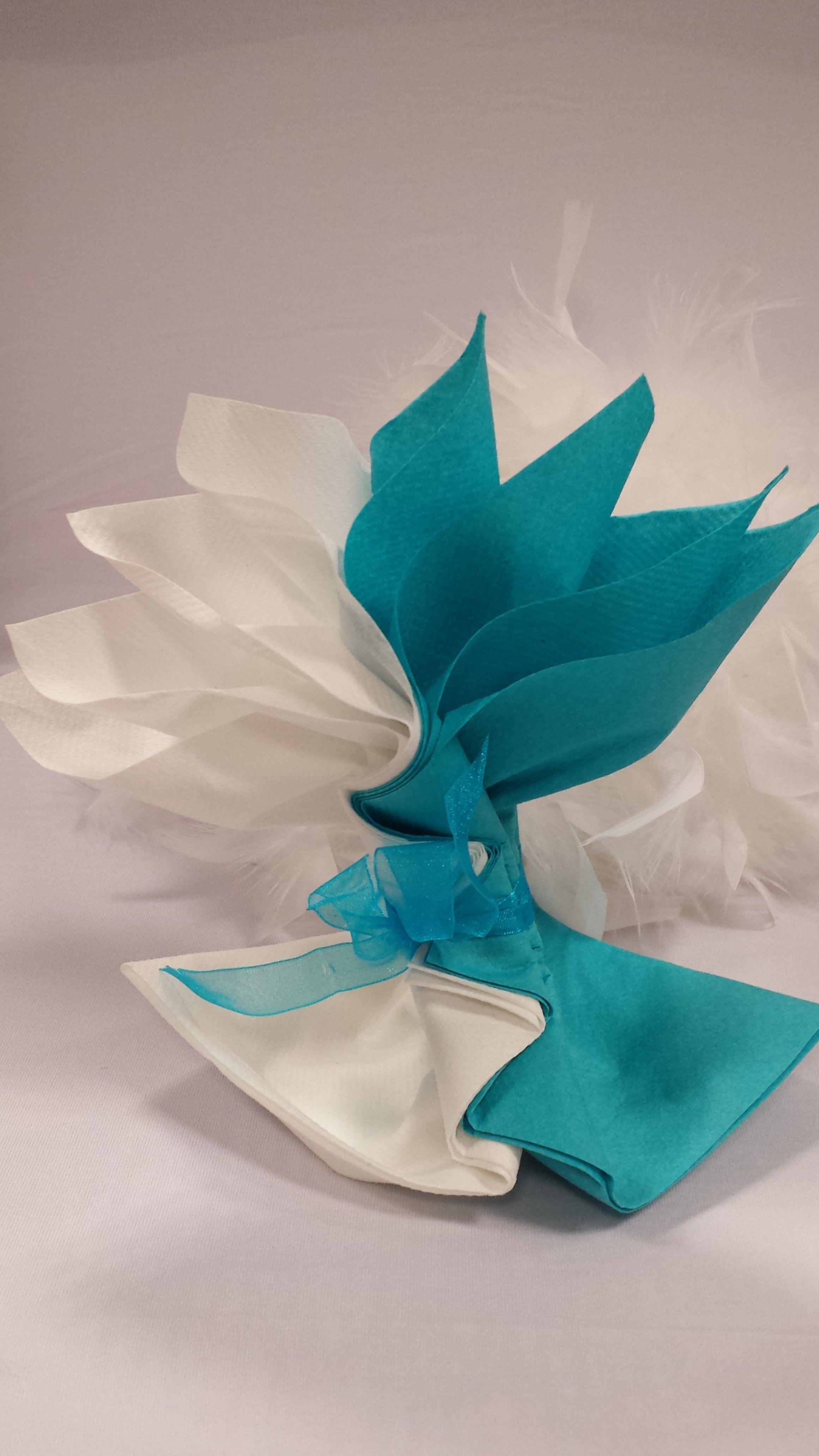 Mariage Bleu Et Blanc Fleur Exotique Pliage Serviette