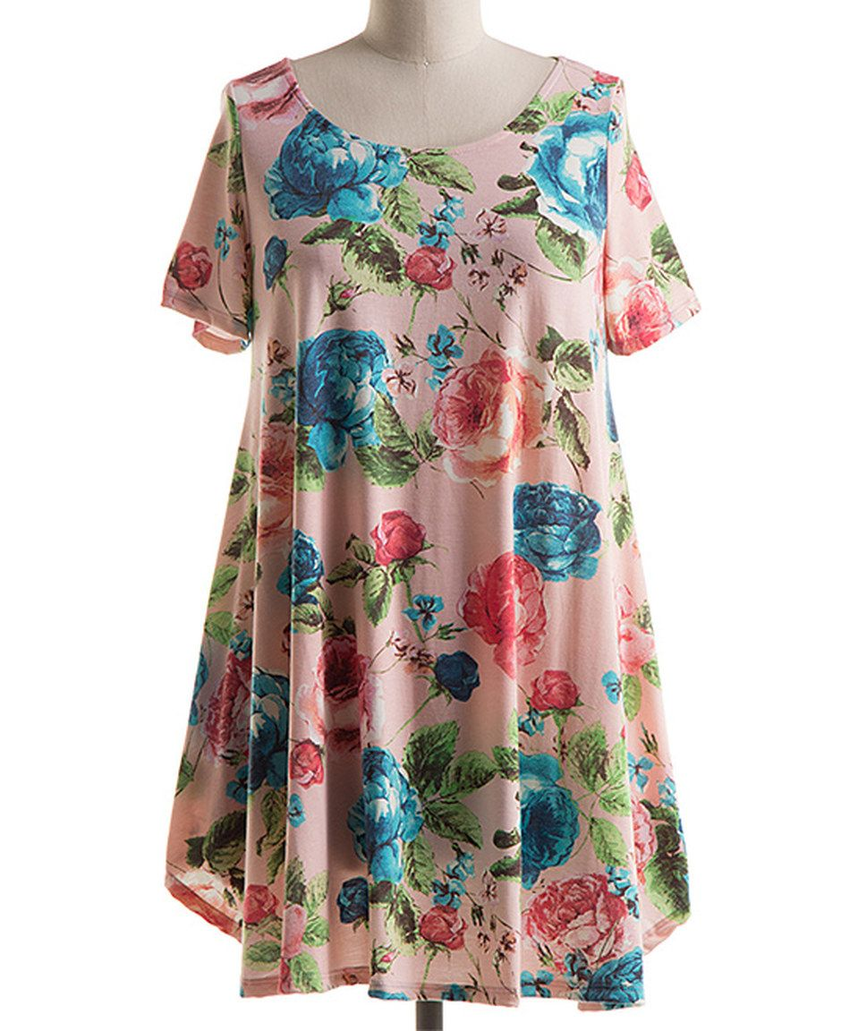 Take a look at this Blush Floral Swing Tunic - Plus today!