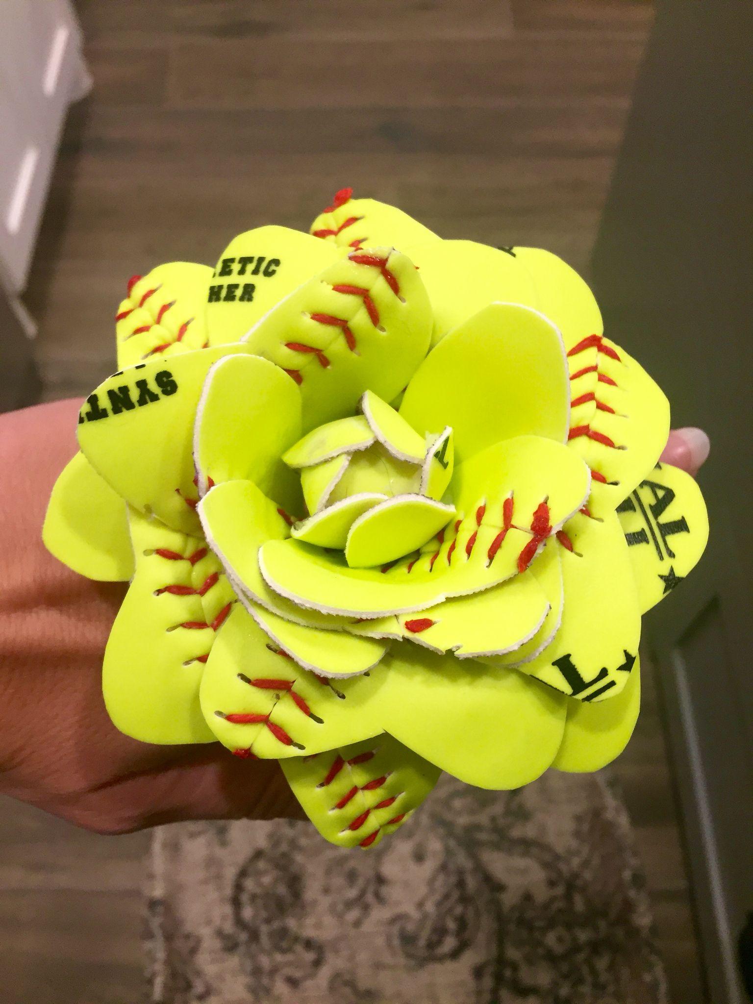 Softball roses made from real softballs! | softball roses.