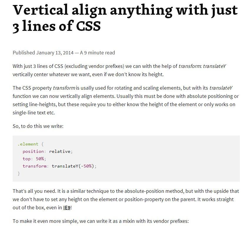 Vertical align anything with just 3 lines of CSS | Brenda