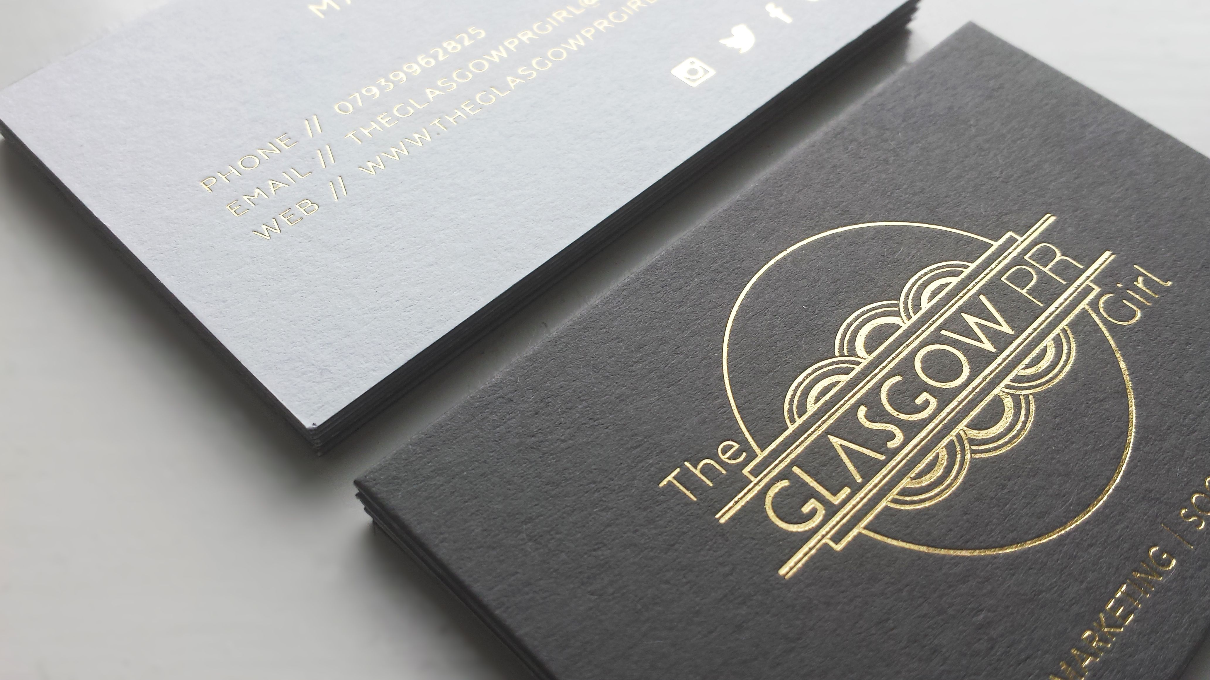 gold foil print business cards for the glasgow pr girl colorplan