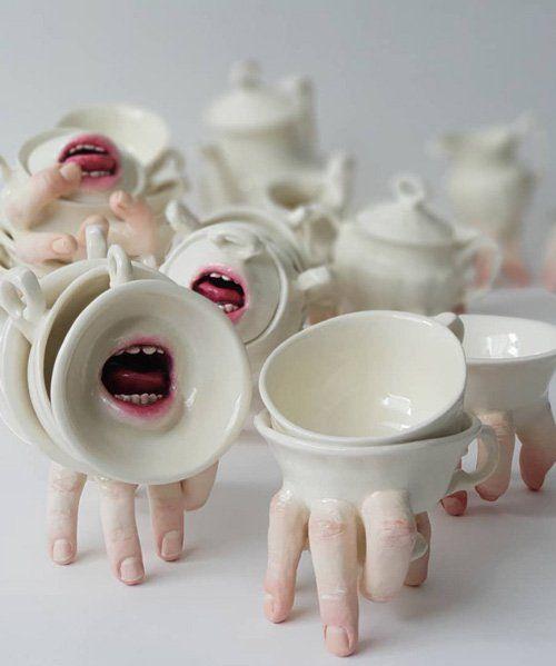 human body parts emerge from ronit baranga's hybrid ceramic tableware #ceramicart
